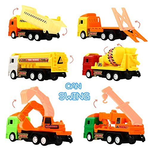 Pull Back Car, Large Size Truck Toy Set(6 Pcs), Funcorn Toys Play Construction Engineering Vehicle Educational Preschool for Kid Children Toddler Party Favors, Dumper Truck Excavator Bulldozer Playset