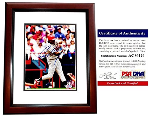 (Juan Gonzalez Autographed Signed Texas Rangers 8x10 Photo Mahogany Custom Frame - 434 Home Runs and 2x MVP - PSA/DNA Authentic)
