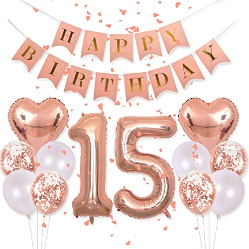 EASUTE Birthday Decorations Pink Happy Birthday Banner 40inch Rose Gold Number 15 Balloons Rose Gold Confetti Balloons 1 in Diameter Heart Confetti for 15th Birthday Party Supplies Photo Props
