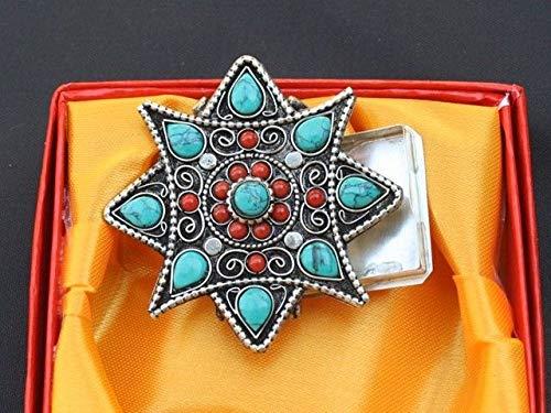 Huge Tibetan 8 Big Heart Turquoise 12 Red Coral Gemstone Ghau Prayer Box Pendant #ID-154 ()