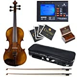 Cecilio 16 Inch Hand Oil Rubbed Highly Flamed 2-Piece Back Solidwood Viola with Tuner, CVA-600
