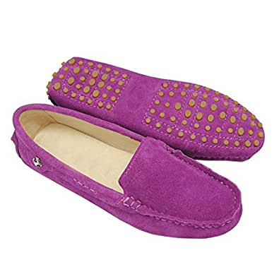 Minishion TYB9601 Women's Round Toe Suede Leather Loafers Boat Shoes Ballet Flats Amaranth 5 M US