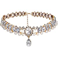 Shining Diva Fashion Gold Crystal Pearl Stylish Modern Western Choker Necklace for Women and Girls