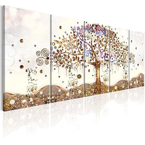 murando - Cuadro en Lienzo Arbol Klimt 225x90 cm Impresion de 5 Piezas Material Tejido no Tejido Impresion Artistica Imagen Grafica Decoracion de Pared Abstracto l-A-0009-b-n
