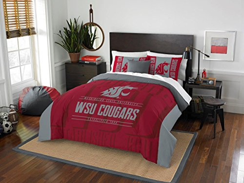 Washington State Cougars - 3 Piece FULL / QUEEN SIZE Printed Comforter & Shams - Entire Set Includes: 1 Full / Queen Comforter (86