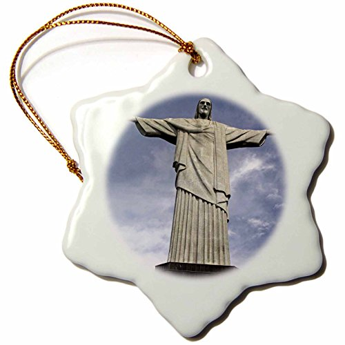 3dRose orn_85743_1 Brazil, Rio de Janeiro. Christ The Redeemer, Corcovado SA04 KWI0024 Kymri Wilt Snowflake Porcelain Ornament, 3-Inch by 3dRose