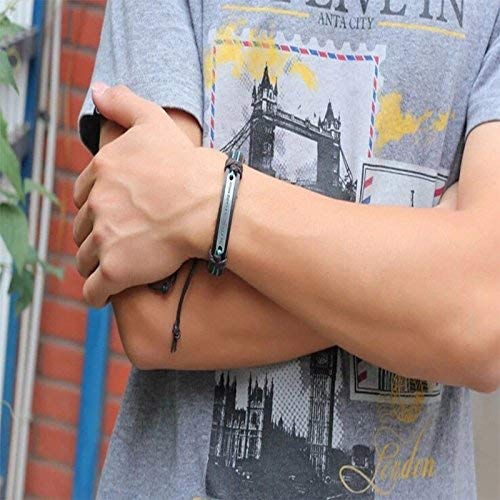 (Phonphisai shop New Handmade Men Cuff Surfer Tribal Hemp Braided Wrap Wrist Leather Bracelet)
