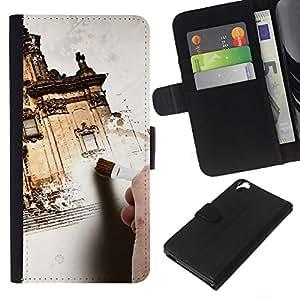- EXTERIOR ARCHITECTURE PAINTING HOUSE DESIGN - - Prima caja de la PU billetera de cuero con ranuras para tarjetas, efectivo desmontable correa para l Funny House FOR HTC Desire 820