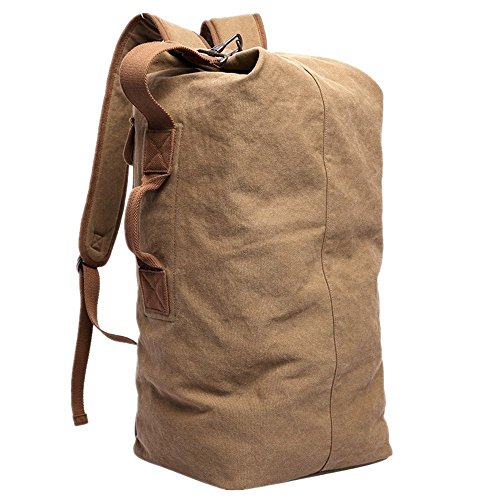 KAKA Travel Backpack Duffle Backpack Canvas Hiking Backpack Casual Rucksack Camping Backpack Sports Bag Large Capacity 35L