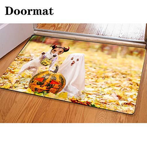 3D Printing and Dyeing,Bathroom Carpet, Door mat,Kid and Dog Dressed in Halloween Costumes with Jack o Lantern Pumpkins Flannel Foam Shower mat, Absorbent Kitchen Door Carpet ()
