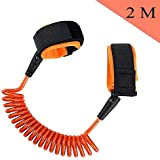 Anti Lost Wrist Link, EAGKORD 2M /6.6 FT Child Anti Lost Strap Skin Care Wrist Link Belt Sturdy Flexible Safety Harness for Travel Outdoor Shopping Walking - Orange