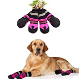 Patgoal Dog Boots,7Pcs Waterproof Shoes Anti-slip Snow Pet Boots Paw Protector Warm Reflective For Small Medium Dog