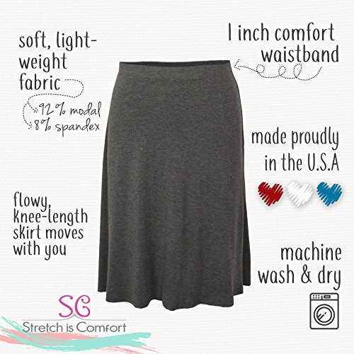 Stretch-is-Comfort-Womens-A-Line-Knee-Length-Flowy-Skirt