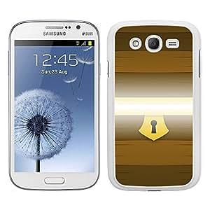 Funda carcasa TPU (Gel) para Samsung Galaxy Grand NEO Plus diseño cofre con cerradura borde blanco