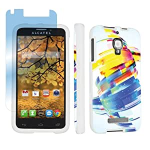 Alcatel One Touch Fierce 7024W White Full Protection Designer Case + Screen Protector By SkinGuardz - Future Abstract