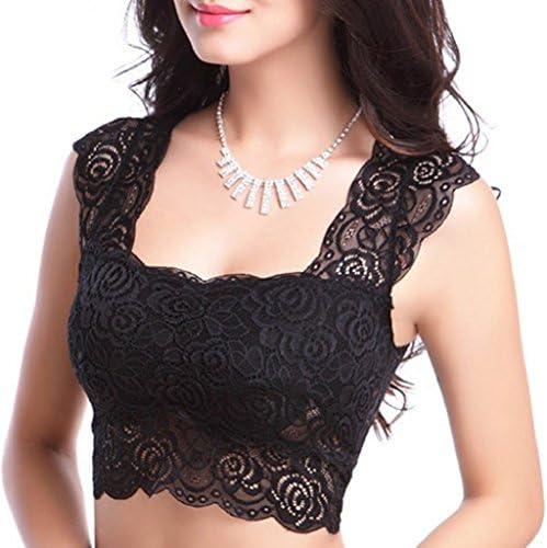 Qingsun Womens Lace Tube Crop Seamless Bandeau Bra Boob Tops Vest with Padding
