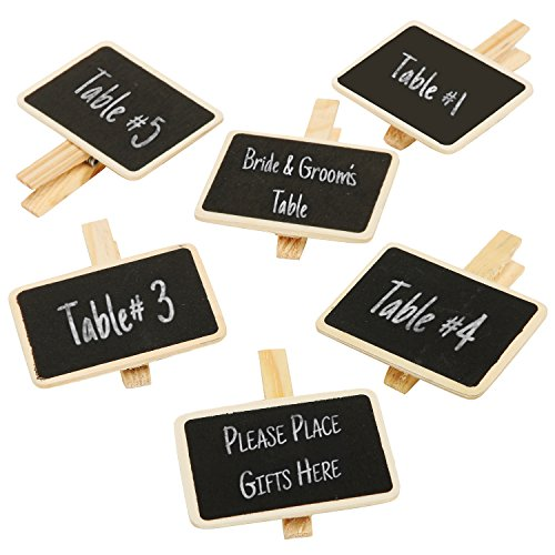 Wooden Clothespin Style Erasable Chalkboard Labels Clippers / Mini Clip On Message Memo Boards, Set of 6 (Chalkboard Cloth)