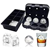 Image of Hraindrop Best Silicone Ice Cube Trays(Set of 2) - Whiskey Sphere Round Ice Ball Maker with Lids & Giant Ice Cube Molds & Keep Your Drink Cold For Longer,Reusable and BPA Free