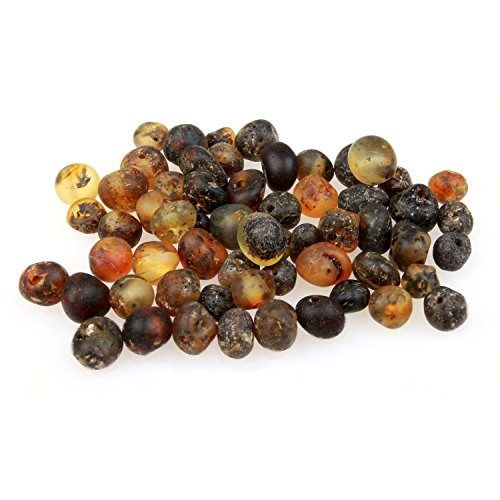 60 Loose Amber Beads - Raw Unpolished Green Color - 3-4mm Width - Pre-Drilled Holes Ready for Stringing Jewelry - Bulk DIY Supplies for Making Baltic Teething Necklaces, Bracelets & (Green Amber Beads)
