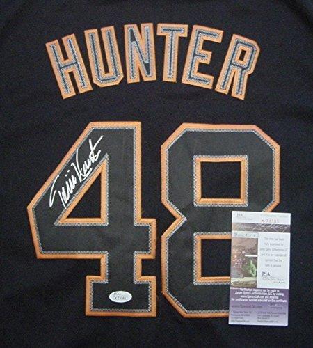 Torii-Hunter-Detroit-Tigers-Autographed-Black-48-Jersey-JSA-COA-Size-48