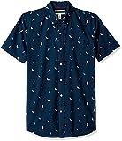 Goodthreads Men's Slim-Fit Short-Sleeve Printed Poplin Shirt, Birds, Large