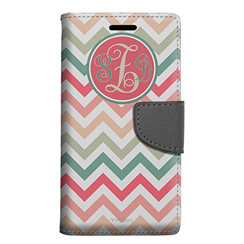 Monogram Apple iPhone SE Wallet Case - Chevron Peach Pink Green Red (Pink Monogram Iphone)