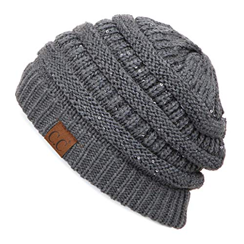 Thick Cable Knit - C.C Exclusives Cable Knit Beanie - Thick, Soft & Warm Chunky Beanie Hats (Sequin Dk. Mel Grey)