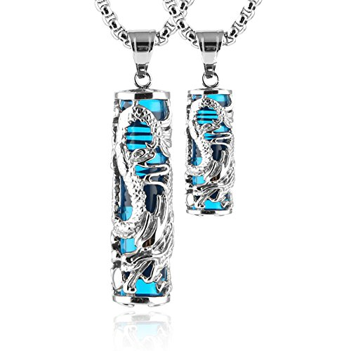 HZMAN 2 pcs Dragon Wrapped Cylinder Gemstone Necklace Crystal Healing Couple Pendant Necklaces Set (Blue)