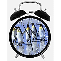 Cute Penguins Alarm Desk Clock 3.75 Home Office Decor Z75 Nice For Gifts