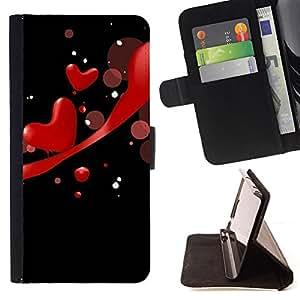 ForSamsung Galaxy S3 MINI i8190 (NOT S3),S-type Amor Rojo- Dibujo PU billetera de cuero Funda Case Caso de la piel de la bolsa protectora