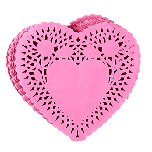 Heart Shape Paper Doily - 100-Pack Pink Doilies Paper Lace for Romantic Tableware Decorations, Placemats for Cakes, Desserts, Anniversaries, 4.1 x 3.9 Inches ()