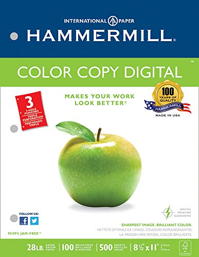 Hammermill Paper, Color Copy Digital, 28lb, 8.5 x 11, 3 Hole Punch, 100 Bright, 500 Sheets / 1 Ream, (102500). Made In The USA