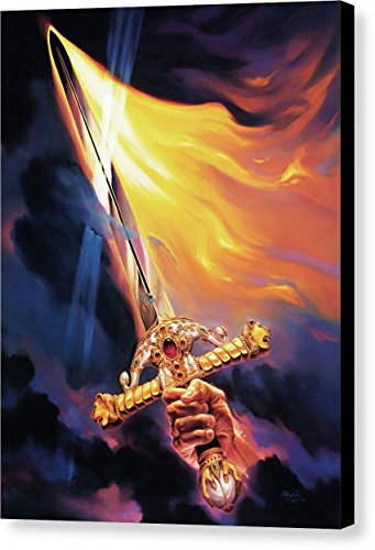 ''Sword Of The Spirit'' by Jeff Haynie, Canvas Print Wall Art, 11'' x 14'', Black Gallery Wrap, Glossy Finish by Pixels