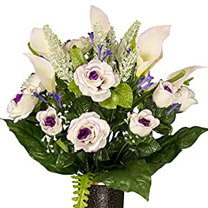 White Burgundy Rose and Calla Lily, featuring the Stay-In-The-Vase Design(C) Flower Holder (SM1867) 43