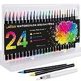 Vacnite Watercolor Brush Pens, Set of 24 Colors Watercolor Markers and Water Pen