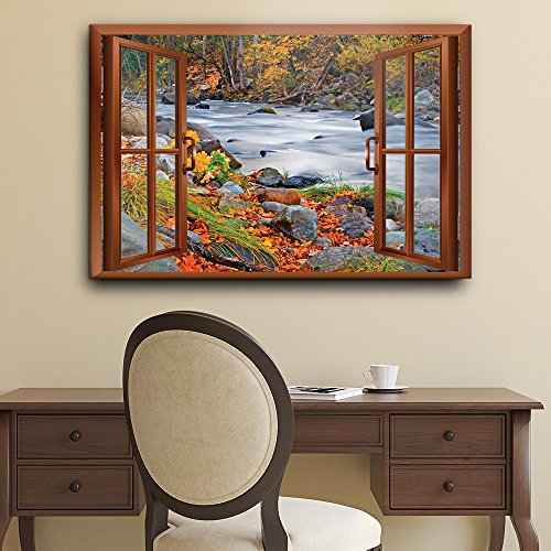 Copper Window Looking Out Into a Rocky River Surrounded by Trees