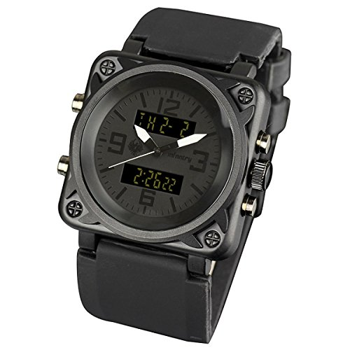 INFANTRY Mens Black Sports Analog Digital Quartz Wrist Watch with Rubber - Rubber Strap Display
