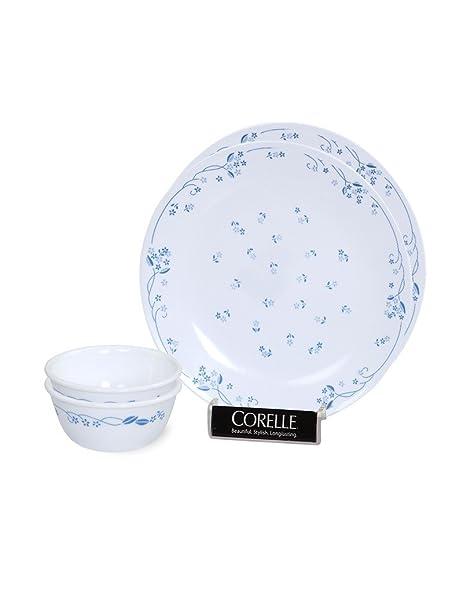 Corelle Provincial Bachelor Glass Dinner Set, 4-Pieces, Blue