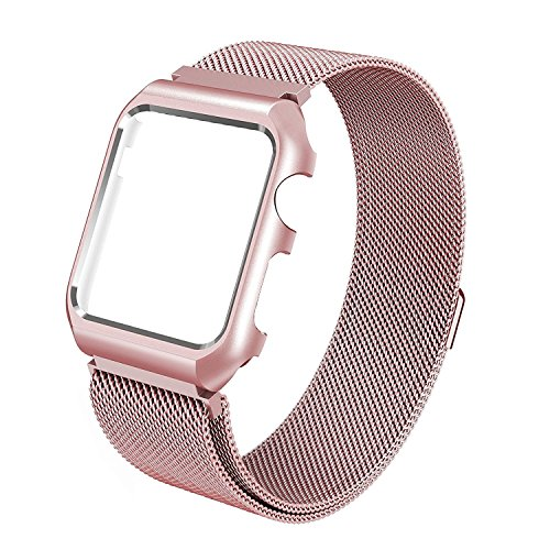 Apple Watch Band, 38mm with Metal Case Milanese Loop Magnetic Mesh Stainless Steel - Shockproof Protective Screen Bumper w Anti-scratch Soft Rubber for iWatch Sport & Edition - Rose Gold