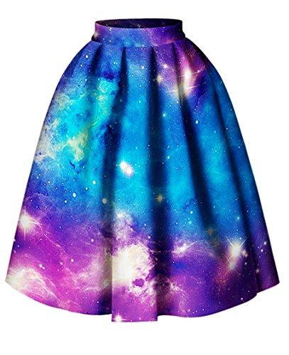 Alaroo Womens Tie Dye Galaxy Printed Flare Midi Skirt L