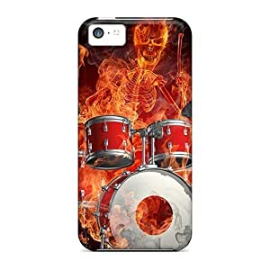 LastMemory Awesome Case Cover Compatible With Iphone 5c - Skeleton Drummer