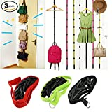Hat and Bag Racks Organizer For Baseball Caps - Over Door Closet Organizer For Men, Boy or Women Hat Collections - Holds up to 27 Caps for Baseball Hats (Pack 3) - Black, Green and Red