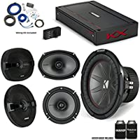 "Kicker 43CWR104 10"" CompR Sub, 44KSC6904 6x9"" & 44KSC6504 KS-Series Speakers, 44KXA8005 KX-Series Amplifier and wire kit"