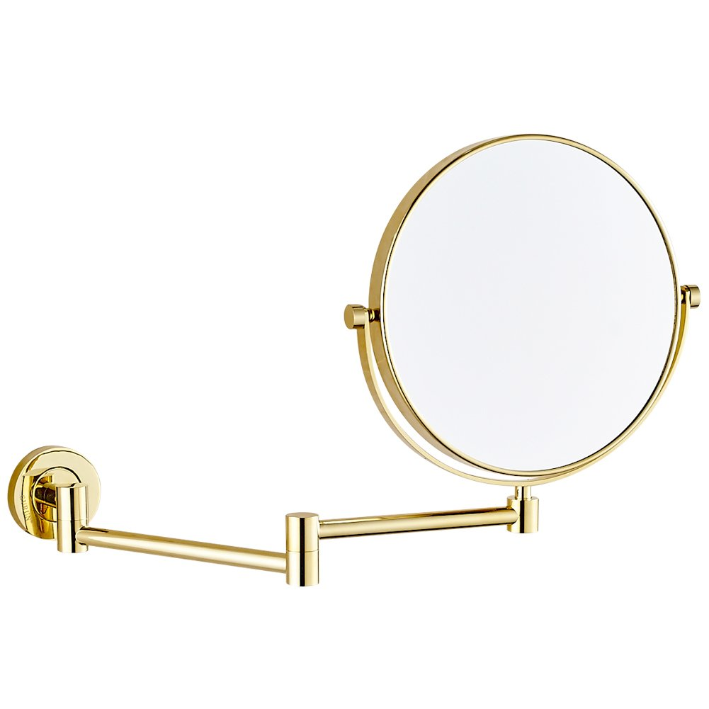 GURUN 8 Inch Two-Sided Swivel Wall Mounted Mirror Vanity Mirror with 10x Magnification,Gold Finish M1305J(8in,10x) by GURUN (Image #1)