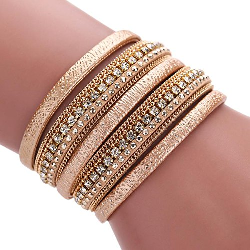 Welcomeuni Bohemian Bracelet Woven Braided Wrap Cuff Magnetic Clasp for Women (Gold)