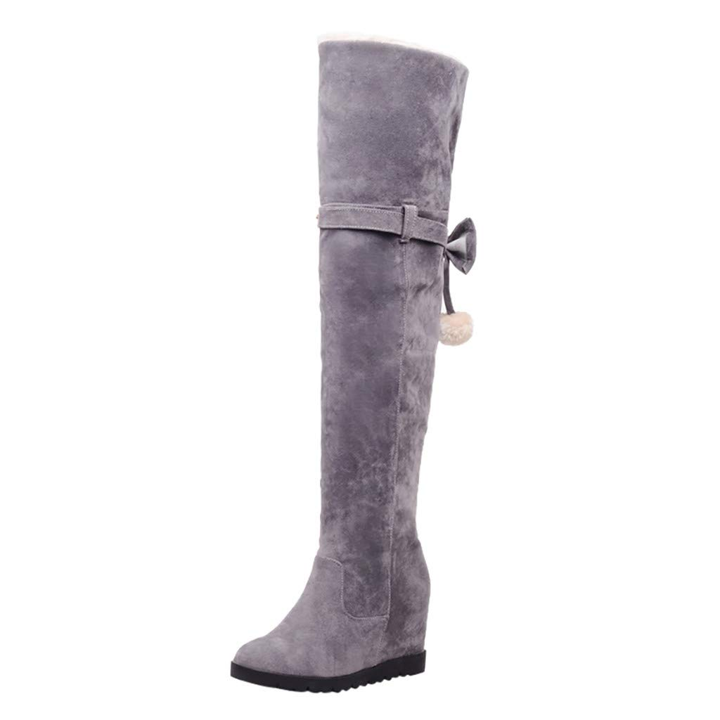 Fheaven Over The Knee Boots for Women,Fheaven Wedges Comfy Knee High Boots Winter Outdoor Snow Boots Grey by Fheaven-shoes