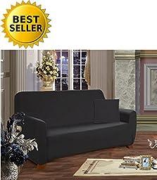 Elegance Linen Collection Luxury Soft Furniture Jersey STRETCH SLIPCOVER, Loveseat Black