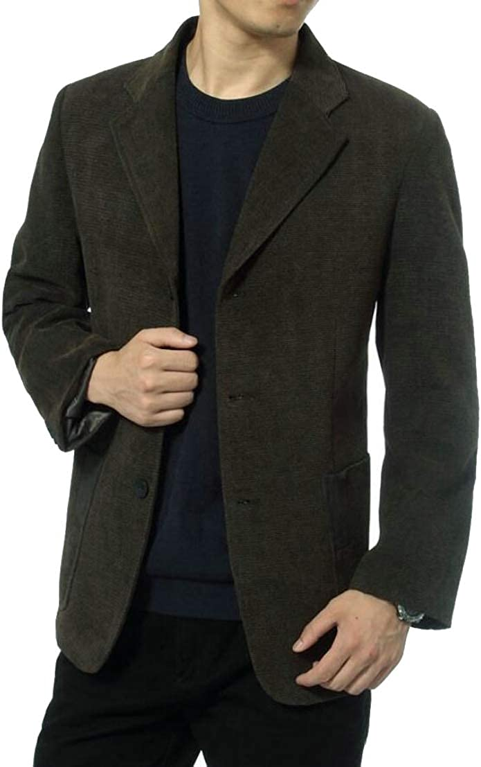 Generic Mens Single Breasted Lapel Corduroy Solid Color Suit Blazer Jackets