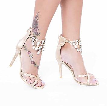 1ab5dada060db7 SHINIK Femmes pierres précieuses chaîne sandales été à talons hauts pompes  Angleterre mode cheville sangle chaussures