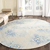 Safavieh Dip Dye Collection DDY516A Handmade Watercolor Vintage Erased Weave Medallions Beige and Blue Wool Round Area Rug (7′ Diameter)